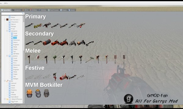 TF2 Cosmetics and Weapons Spawn Menu Folders and Icons